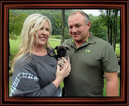 Bugg Baby Ruth/Mia and hew new mom and dad - Brindle Pug Puppies | Once you have had a wonderful dog, a life without one is a life diminished.
