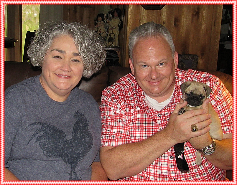 Puddin's little girl Glory/Marley with her new mom and dad