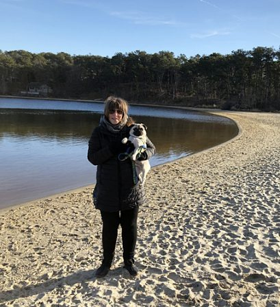 Macon and his mom Jane enjoying a walk at the lake - Fawn Pug Puppies   Petting, scratching, and cuddling a dog could be as soothing to the mind and heart as deep meditation and almost as good for the soul as prayer.