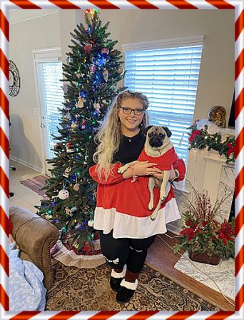 Brandy's & Simba's Missy/Peaches and Kara Christmas 2020 - Adult Fawn Pug | A dog can't think that much about what he's doing, he just does what feels right.