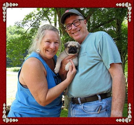 Brenna's Ozzy with his new mom and dad - Fawn Pug Puppies | Don't accept your dog's admiration as conclusive evidence that you are wonderful.