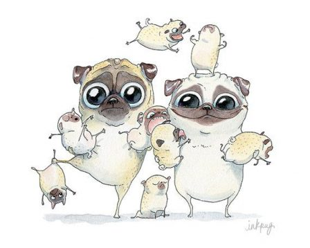 Family Photo from InkPug - Fawn Pug - Puppies and Adults | I think we are drawn to dogs because they are the uninhibited creatures we might be if we weren't certain we knew better.