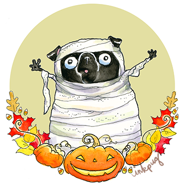 Happy 2019 Halloween - Adult Black Pug | I think we are drawn to dogs because they are the uninhibited creatures we might be if we weren't certain we knew better.