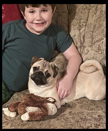 Bai-Lei's Rudolph/Dan with his boy Jackson - Fawn Pug Puppies | Did you ever walk into a room and forget why you walked in? I think that is how dogs spend their lives.