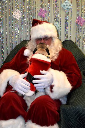 Martie's Ruthie in 2017 deciding Santa is not so bad! - Adult Fawn Pug | No Matter how little money and how few possessions you own, having a dog makes you rich.