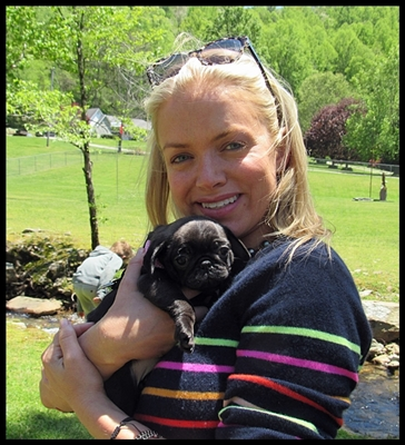 Shalimar aka Zori Bliss with her new mom Danielle - Silver Pug Puppies | Every boy who has a dog should also have a mother, so the dog can be fed regularly.
