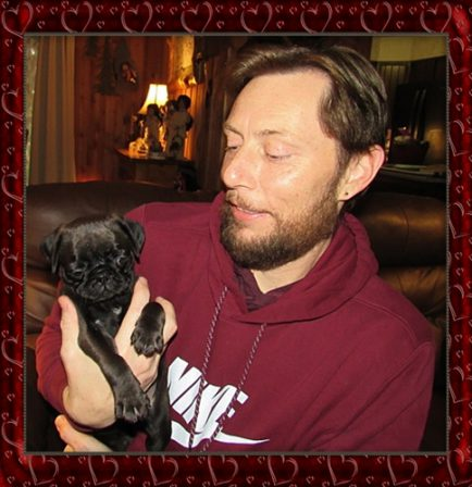 Cocoa's Will/Oliver, rare chocolate, with his new dad James - Multiple Color Pugs Puppies | The pug is living proof that God has a sense of humor.